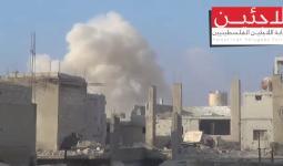 جانب من القصف على مخيم درعا