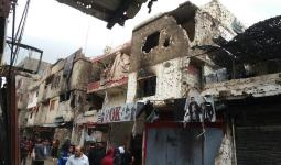 جزء من الدمار الحاصل في مخيم عين الحلوة جراء الاشتباكات