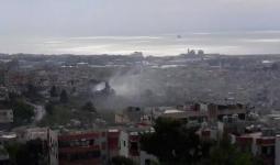 الدخان المتصاعد من أحياء مخيم عين الحلوة جراء الاشتباكات