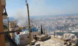 الدخان المتصاعد جراء الاشتباكات في مخيم عين الحلوة