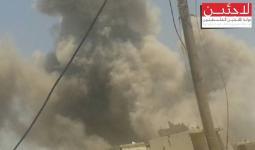الدخان المتصاعد جراء قصف النظام لمخيم درعا