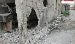 جانب من الدمار الحاصل في مخيم درعا جراء قصف قوات النظام السوري للمخيم