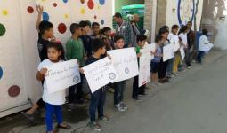 خلال الوقفة التضامنية مع الأسرى في سجون الاحتلال