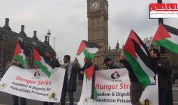 جانب من الاعتصام في ساحة البرلمان بمدينة لندن