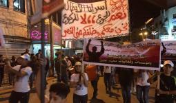 جانب من المسيرة التضامنية مع الاسرى في سجون الاحتلال بمخيم جنين