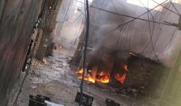 اشتعال النار جراء الاشتباكات والقذائف في مخيم برج البراجنة