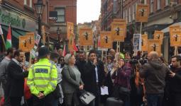 جانب من الاعتصام امام سفارة الاحتلال في لندن