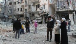 توزيع مساعدات على العائلات الفلسطينية في مخيم خان الشيح والمزيريب
