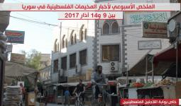 الملخص الأسبوعي لإخبار المخيمات الفلسطينية في سورية بين 9 و14 آذار 2017