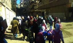 خروج عشرات الطلاب من مدرسة الجرمق البديلة إلى مراكز إقامة في دمشق