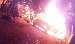 المركبة التي استهدفتها طائرات الاحتلال في مخيّم النصيرات وسط قطاع غزة