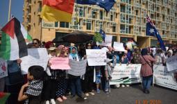 لاجئون فلسطينيون أمام السفارة الاسترالية في بيروت للمطالبة بـ