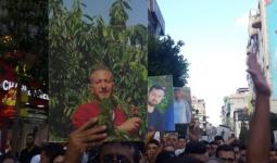 من مسيرة شعبية خرجت في رام الله، رفضاً للتحقيق العسكري الذي تعرض له الأسير: سامر عربيد