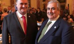 وزير خارجية البحرين برفقة وزير خارجية الكيان الصهيوني