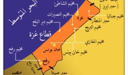 توزع المخيمات في قطاع غزة