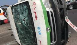 الصورة من حادث السير الذي حدث في مخيم النصيرات