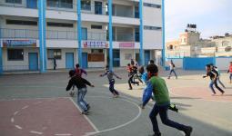 صورة أرشيفية لتدريب الطلاب في إحدى مدارس الأونروا