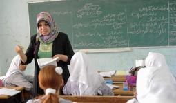 الصورة من احدى مدارس الاونروا في قطاع غزة