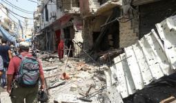 جانب من الأضرار نتيجة الاشتباكات في مخيم عين الحلوة