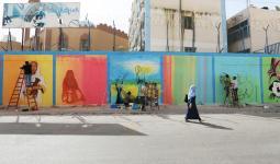 الرسم على أحدى منشأت الاونروا في قطاع غزة