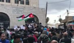 جانب من الوقفة الاحتجاجية التي نظمها أنباء مخيم غزة في مدينة جرش بالاردن