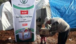 توزيع لحوم على اللاجئين الفلسطينيين المهجّرين في ادلب