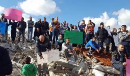 مظاهرة حاشدة ضد هدم المنازل في قلنسوة