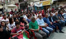من إحدى الخيم التضامنية في المخيمات الفلسطينية