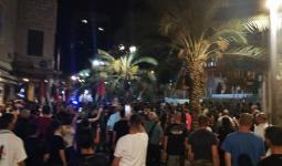 من المسيرة التي انطلقت في حيفا المحتلة نصرة لغزة