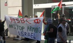 تظاهرات أمام بنك HSBC في لندن لمساهمته في استثمارات أسلحة الاحتلال
