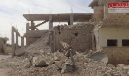 صاروخ فيل على مخيم درعا جنوب سورية وأضرار كبيرة في المباني والممتلكات