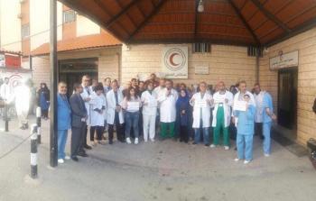 خلال اعتصام موظفو مستشفى الهمشري في مدينة صيدا