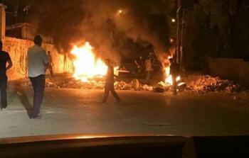 فلسطين المحتلة- من المواجهات في بلدة دير أبو مشعل فجراً