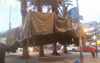 خيمة الاعتصام التي نصبت في ميدان الشهداء