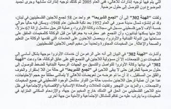 الهيئة 302: اللاجئون في تجمّع الشبريحا في لبنان مسؤولية