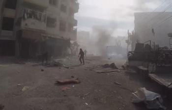 خلال القصف على الغوطة الشرقية
