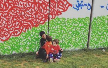 جانب من الرسم على الجدار الإسمنتي الفاصل بين جنوب لبنان وشمال فلسطين