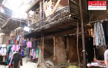 إحدى المحلات المتضررة نتيجة الاشتباكات في مخيم عين الحلوة