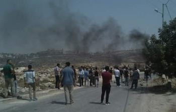 خلال المواجهات مع قوات الاحتلال في قرية كوبر