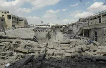 مدرسة المنصورة التابعة للأونروا وقد دمّرها الطيران الحربي.