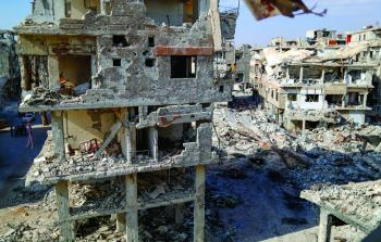 أبنية مدمرة في مخيم اليرموك