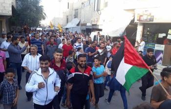 مسيرة في مخيم خان دنون رفضاً لورشة البحرين