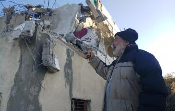 من المنازل التي هدمتها قوات الاحتلال فجر اليوم
