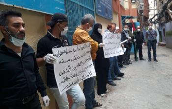 من اعتصام سابق لفلسطيني سوريا بمخيم برج البراجنة للمطالبة بمساعدات طارئة