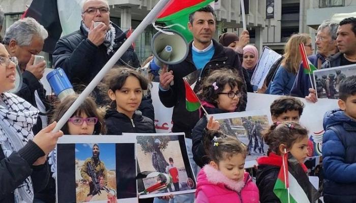 جانب من الاعتصام الجالية الفلسطينية في احدى المدن الأوروبية