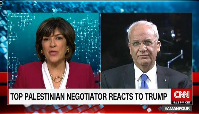 عريقات: نقل الولايات المتحدة سفارتها إلى القدس سيقتل حل الدولتين