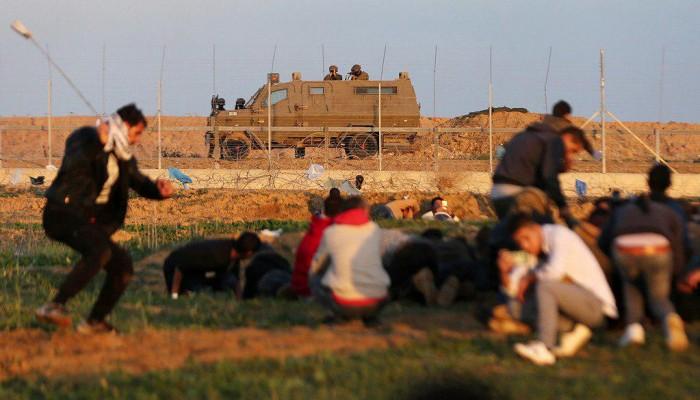 من مسيرات العودة الكُبرى شرقي قطاع غزة يوم الجمعة 21/12/2018