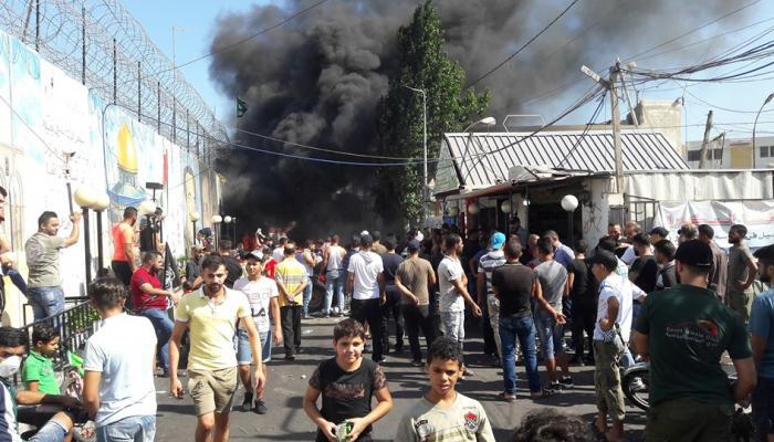 """من احتجاجات مخيّم عين الحلوة ضد إجراءات وزارة العمل """"  كاميرا بوابة اللاجئين"""""""