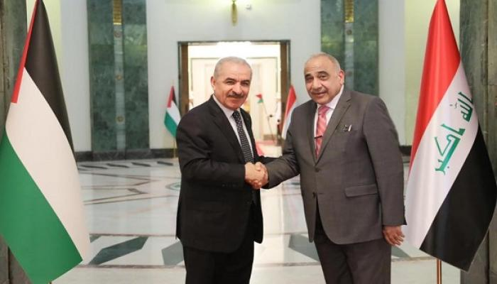 """لقاء  أشتيّة مع رئيس الوزراء العراقي عادل عبد المهدي """" انترنت"""""""