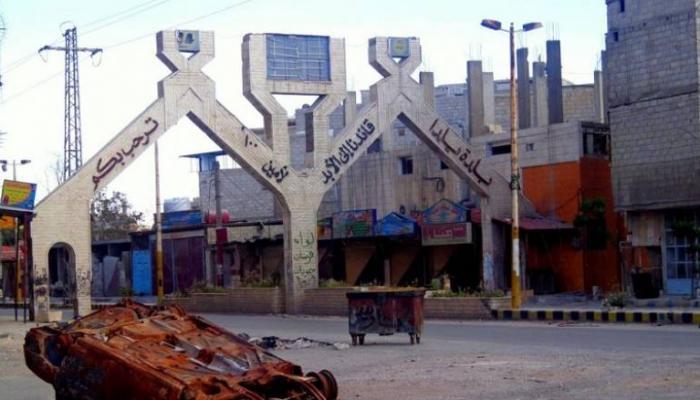 صورة أرشيفية لمدخل بلدة يلدا جنوب دمشق
